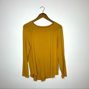American Eagle Yellow Long Sleeve Crew Neck T-Shirt Size Large